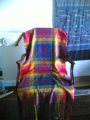 My very first weaving project, an 8-shaft advancing twill from Handwoven Design Collection