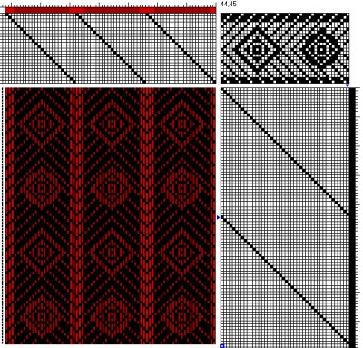 A circle and diamond striped weaving draft/pattern for my handwoven cashmere coat