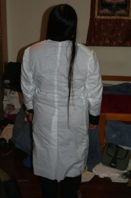 Panel style coat - back view