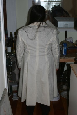 Back view of the single breasted, narrow-lapel pattern
