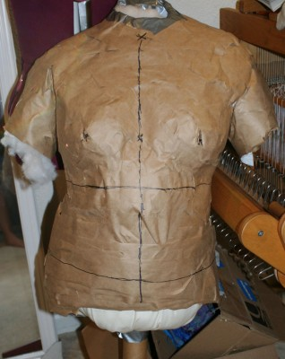 Front view of the paper tape dress form Julie made