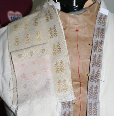 Closeup on handwoven samples for wedding dress