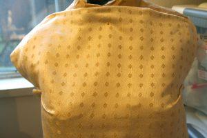 Handwoven wedding dress fabric, closeup