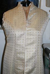 handwoven wedding dress, basted together, closeup