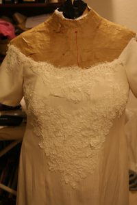 handwoven wedding dress, with lace, front view
