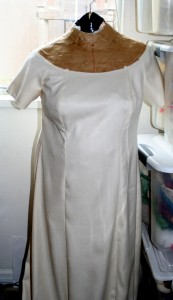 outer shell of dress on dress form