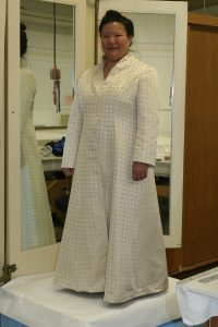 Handwoven wedding dress, coat portion, partially complete