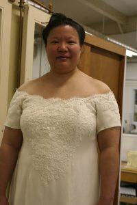 Photoshopped simulation of pearls on handwoven wedding dress