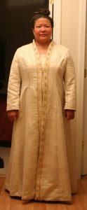 handwoven wedding dress, coat, front view