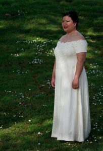 handwoven wedding dress, three-quarter view