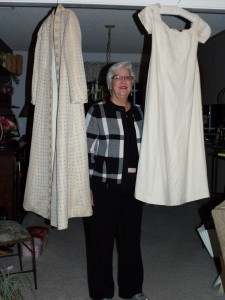 Sharon with the finished coat and dress