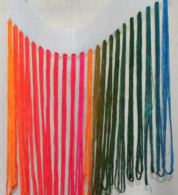 freshly rinsed dye samples, hanging to dry
