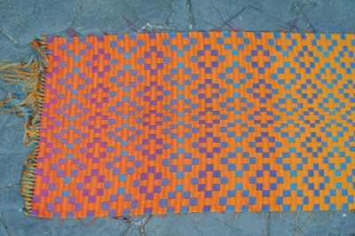 handwoven doubleweave shawl, orange side, left side