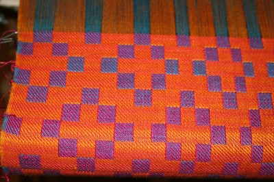 handwoven doubleweave shawl, first seven inches, second view