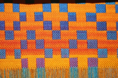 handwoven doubleweave sample, showing the color gradients