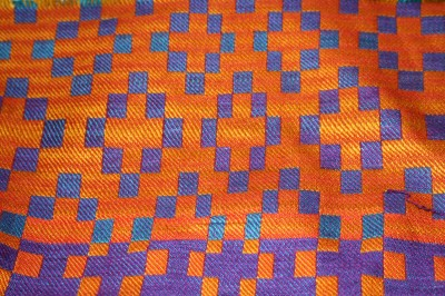 Wet-finished handwoven doubleweave sample, solid color warp and weft, front