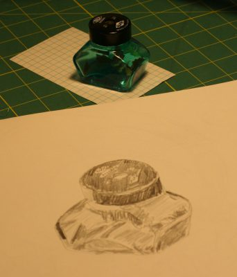 sketch of a glass pencil sharpener