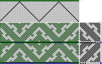 Handweaving.net draft #27803 modified for woven shibori, ties spaced every 23 threads