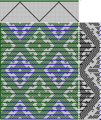 Handweaving.net draft #27803 modified for woven shibori, ties spaced every 4 threads
