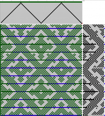 Handweaving.net draft #27803 modified for woven shibori, ties spaced every 8 threads