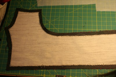 hair canvas interfacing, catchstitched to front facing