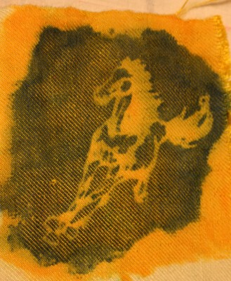 running horse, stenciled in blue acid dye over yellow fiber-reactive