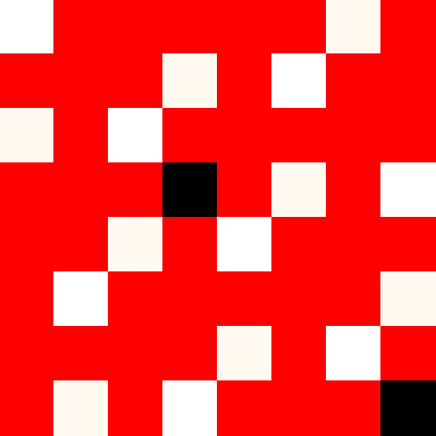 Warp-dominant satin.  Red and black squares indicate shafts to be lifted, white indicates shafts that stay down.