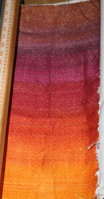 Painted warp, knitted blank