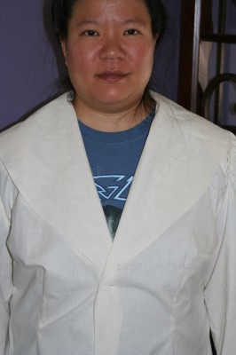 Second jacket muslin, showing the wide shawl collar