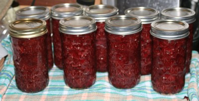 strawberry jam in jars!
