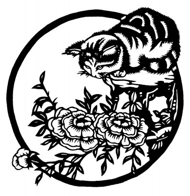 cat perched above flowers
