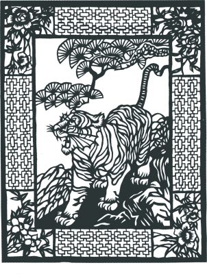 tiger, rectangular border