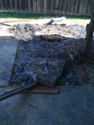 broken-up concrete slab