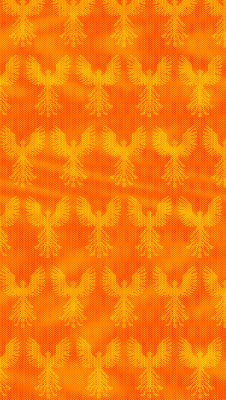 Phoenix design, mottled warp, solid orange weft