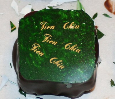 chocolate decorated with a colored transfer sheet