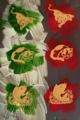 painted transfer sheets - red and green backgrounds