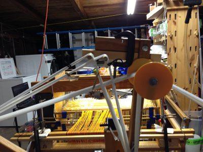 Closeup of raddle cross on AVL Warping Wheel