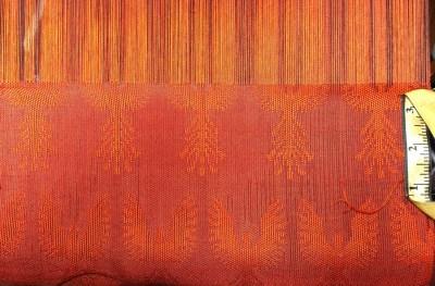 sample for Phoenix Rising, black ground warp, scarlet pattern warp, scarlet weft