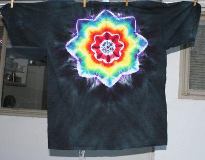 rainbow mandala on black, XXL T-shirt