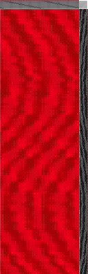 1-3 vs. 3-1 twill, scarlet warp and dark red weft