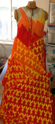 skirt muslin with phoenixes flying different directions