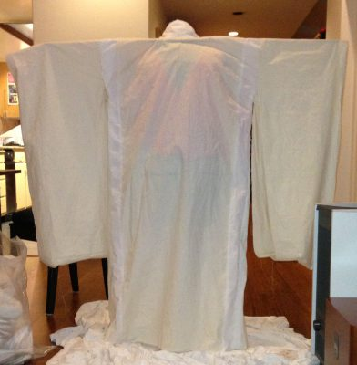The finished muslin for Phoenix Rising, back view, with its arms extended