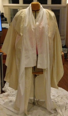 The first muslin for Phoenix Rising kimono, with its arms down