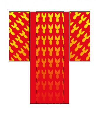 kimono with radiating phoenixes in the sleeves