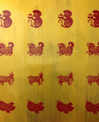 red transfer sheets with painted gold background