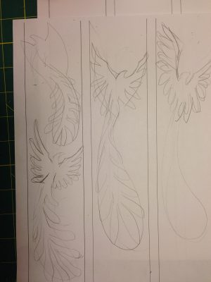 first rough sketches for Phoenix Rising yardage