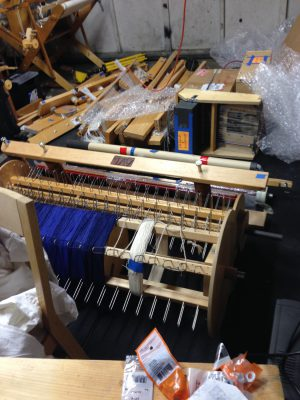 "My 40-shaft loom, ""Emmy"", safe in the garage"