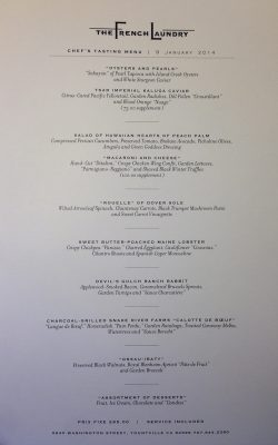 Menu for our meal at The French Laundry