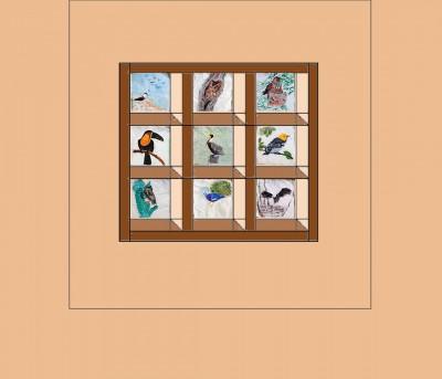 Attic Windows block on a tan background