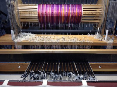 warp, tied onto loom
